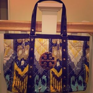 Tory Burch patent leather multi colored tote!